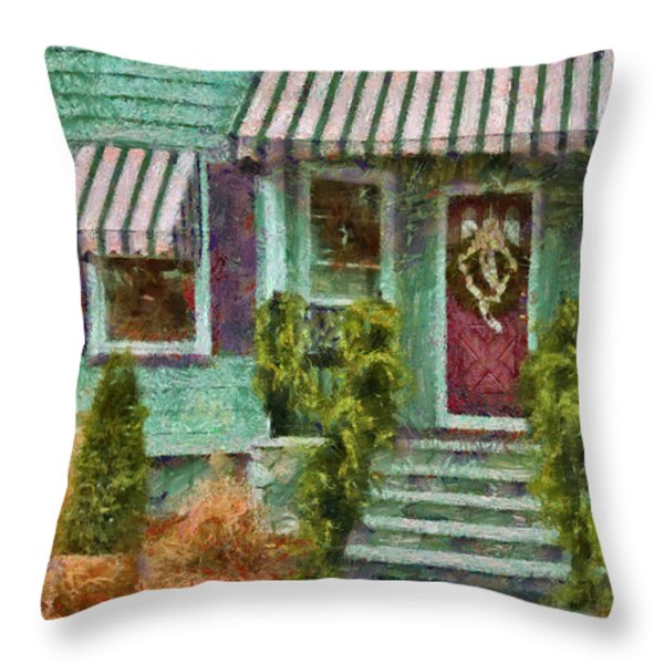 Porch - Westfield Nj - Welcome Friends Throw Pillow by Mike Savad