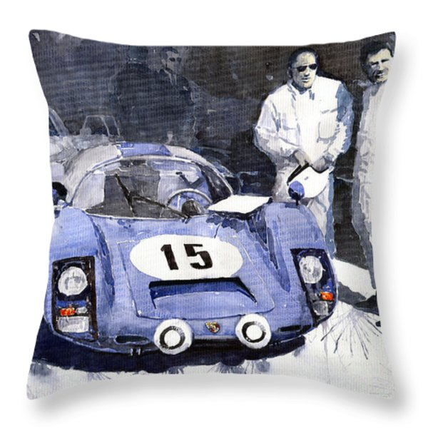 Porsche 906 Daytona 1966 Herrmann-Linge Throw Pillow by Yuriy  Shevchuk