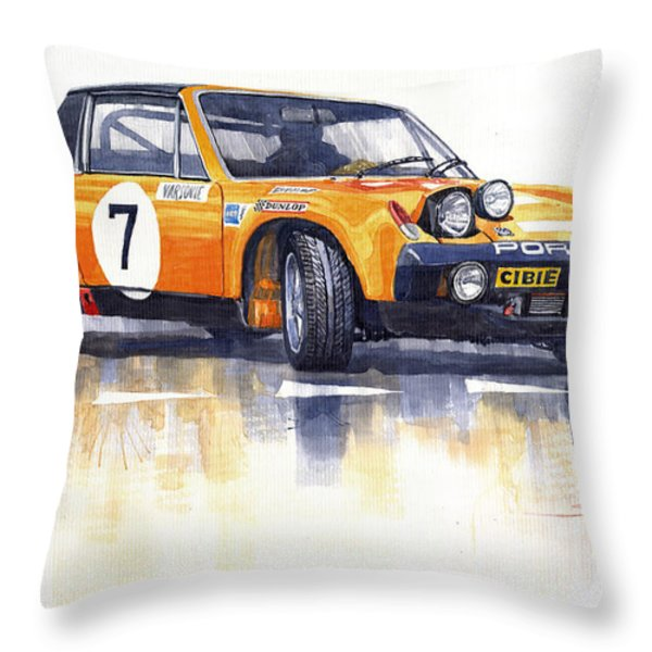 Porsche 914-6 GT Rally Throw Pillow by Yuriy  Shevchuk