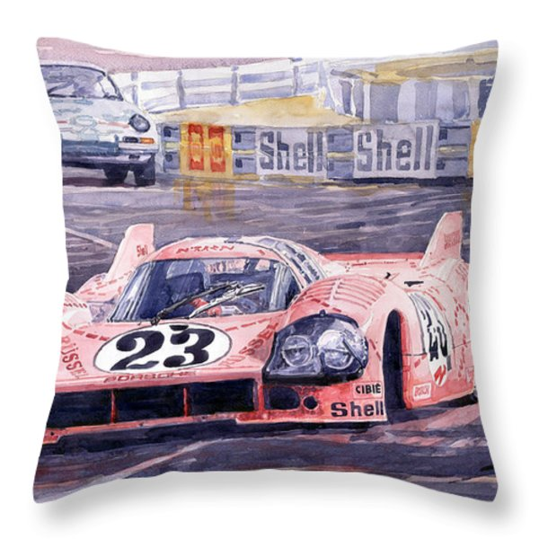 Porsche 917-20 Pink Pig Le Mans 1971 Joest Reinhold Throw Pillow by Yuriy  Shevchuk