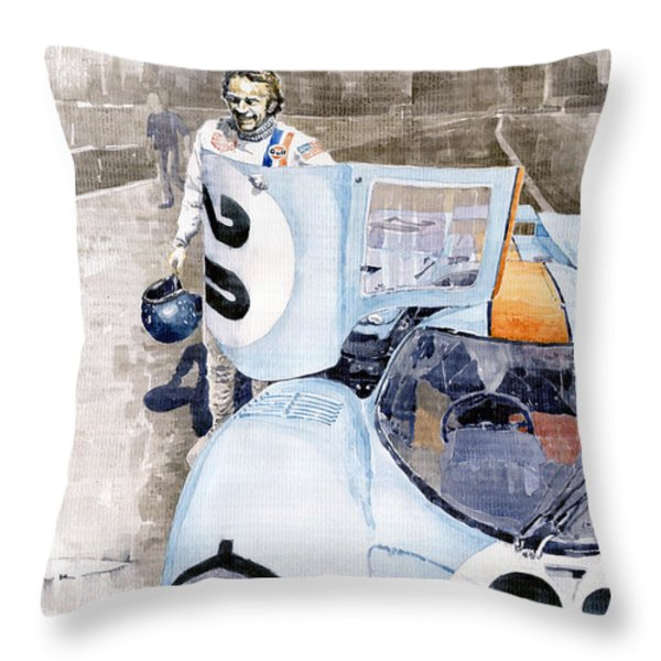 Porsche 917k Le Mans  Steve Mcqueen Throw Pillow by Yuriy  Shevchuk