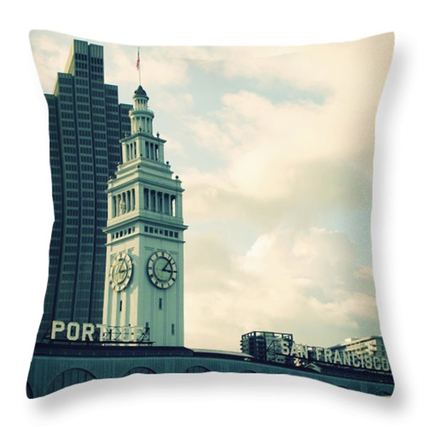 Port of San Francisco Throw Pillow by Linda Woods