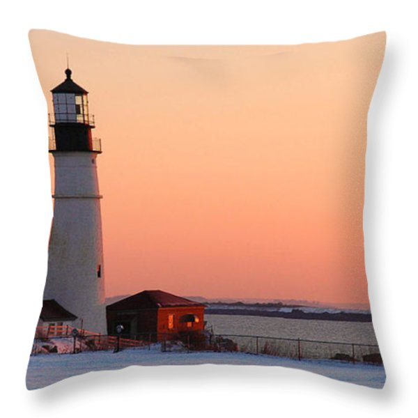 Portland Head Light At Dawn - Lighthouse Seascape Landscape Rocky Coast Maine Throw Pillow by Jon Holiday