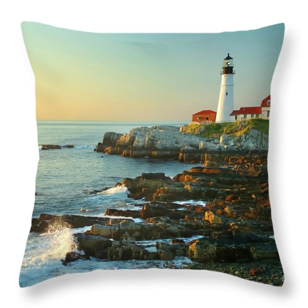 Portland Head Light No. 2  Throw Pillow by Jon Holiday