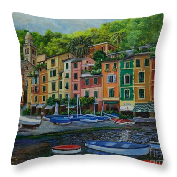 Portofino Harbor Throw Pillow by Charlotte Blanchard