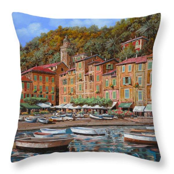 Portofino-La Piazzetta e le barche Throw Pillow by Guido Borelli