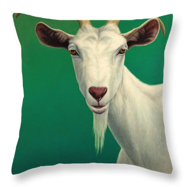 Portrait of a Goat Throw Pillow by James W Johnson