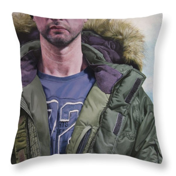 Portrait Of A Mountain Walker. Throw Pillow by Harry Robertson