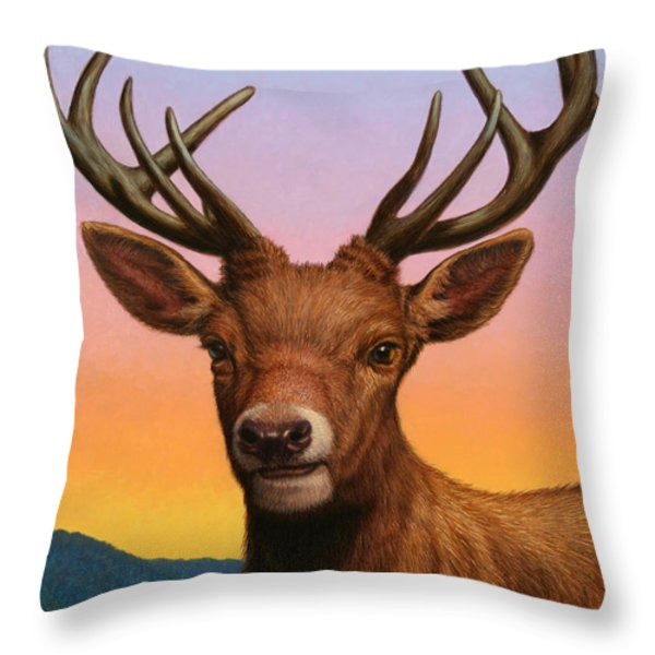 Portrait Of A Red Deer Throw Pillow by James W Johnson