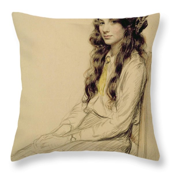 Portrait Of A Young Girl Throw Pillow by Frederick Pegram