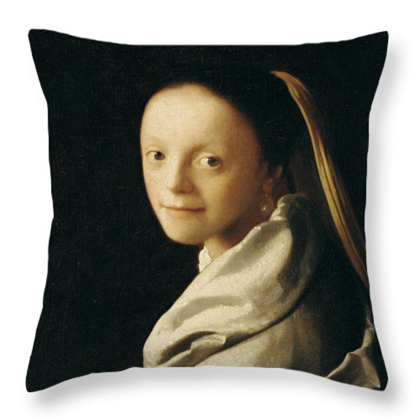 Portrait Of A Young Woman Throw Pillow by Jan Vermeer