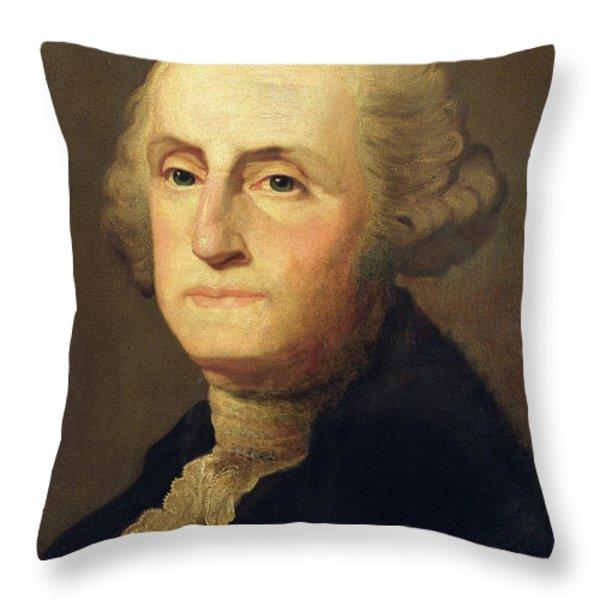 Portrait Of George Washington Throw Pillow by Gilbert Stuart