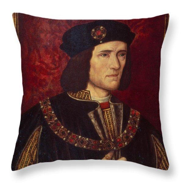 Portrait Of King Richard IIi Throw Pillow by English School