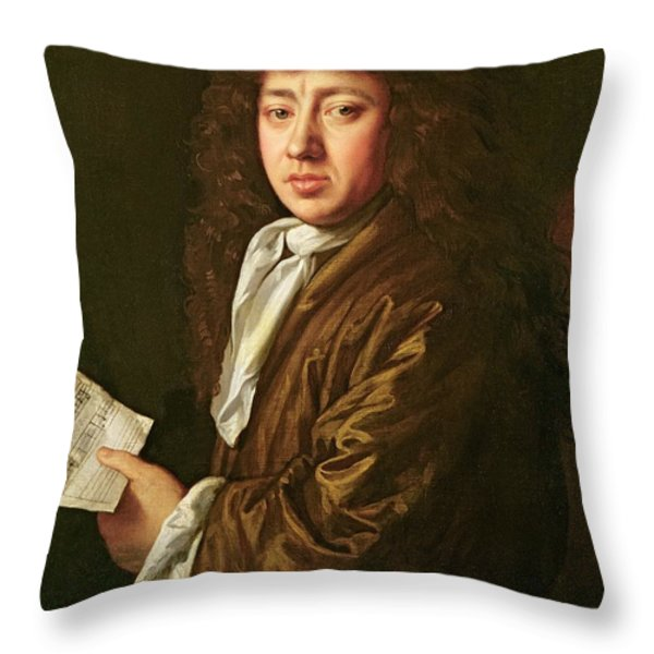 Portrait Of Samuel Pepys Throw Pillow by John Hayls