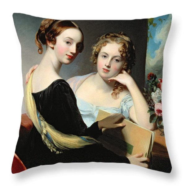 Portrait Of The Mceuen Sisters Throw Pillow by Thomas Sully