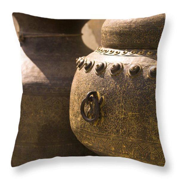 Pots, Jaipur, India Throw Pillow by Keith Levit