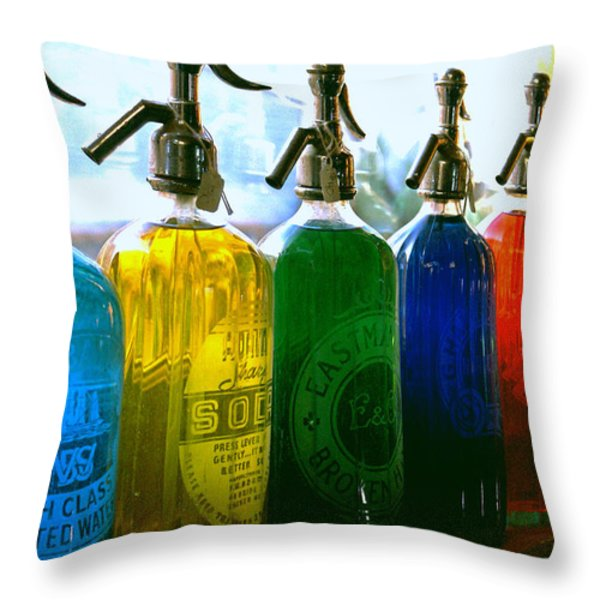 Pour Me A Rainbow Throw Pillow by Holly Kempe