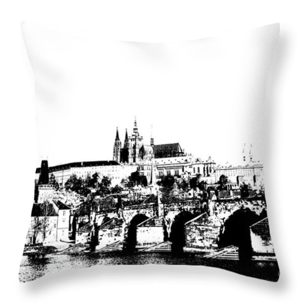 Prague castle and Charles bridge Throw Pillow by Michal Boubin