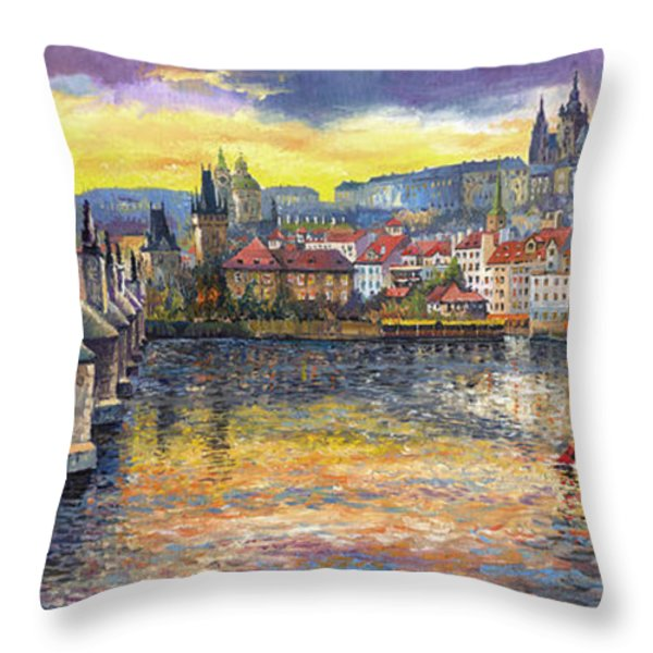 Prague Charles Bridge And Prague Castle With The Vltava River 1 Throw Pillow by Yuriy  Shevchuk