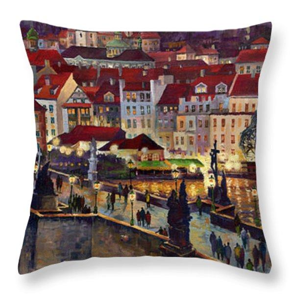 Prague Charles Bridge with the Prague Castle Throw Pillow by Yuriy  Shevchuk