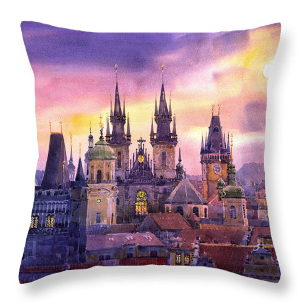 Prague City Of Hundres Spiers Variant Throw Pillow by Yuriy  Shevchuk