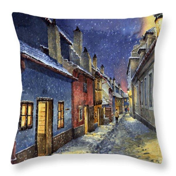 Prague Golden Line Winter Throw Pillow by Yuriy  Shevchuk