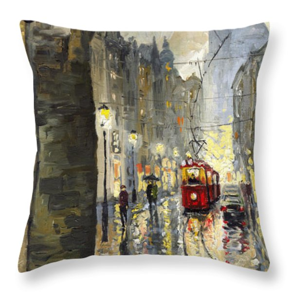 Prague Mostecka street Throw Pillow by Yuriy  Shevchuk