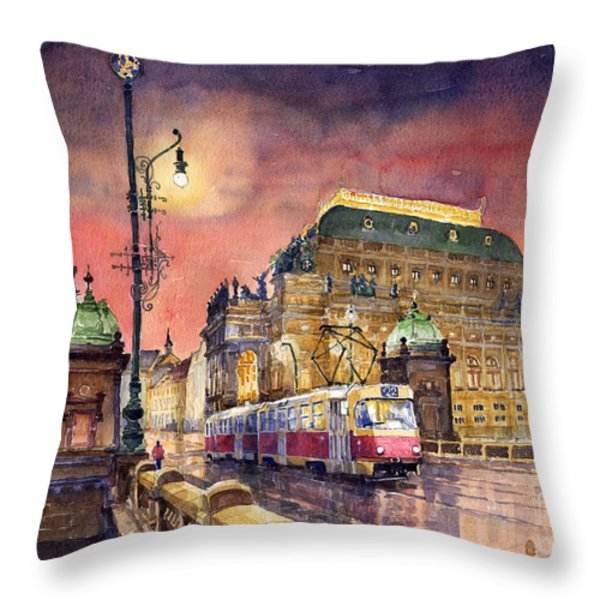 Prague  Night Tram National Theatre Throw Pillow by Yuriy  Shevchuk