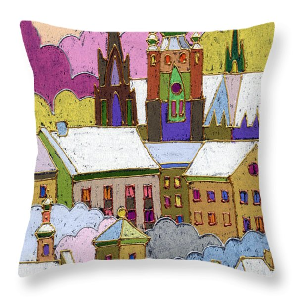 Prague Old Roofs Prague Castle Winter Throw Pillow by Yuriy  Shevchuk