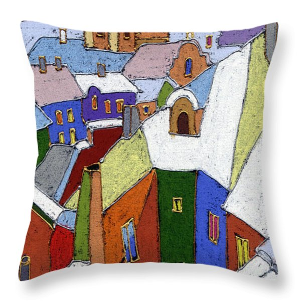 Prague Old Roofs Winter Throw Pillow by Yuriy  Shevchuk