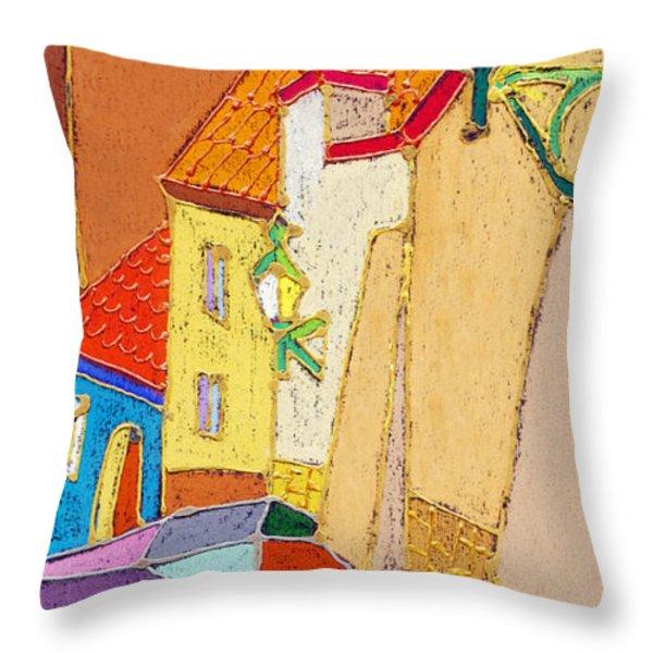 Prague Old Street Ceminska Novy Svet Throw Pillow by Yuriy  Shevchuk