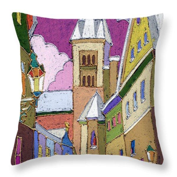 Prague Old Street Jilska Winter Throw Pillow by Yuriy  Shevchuk