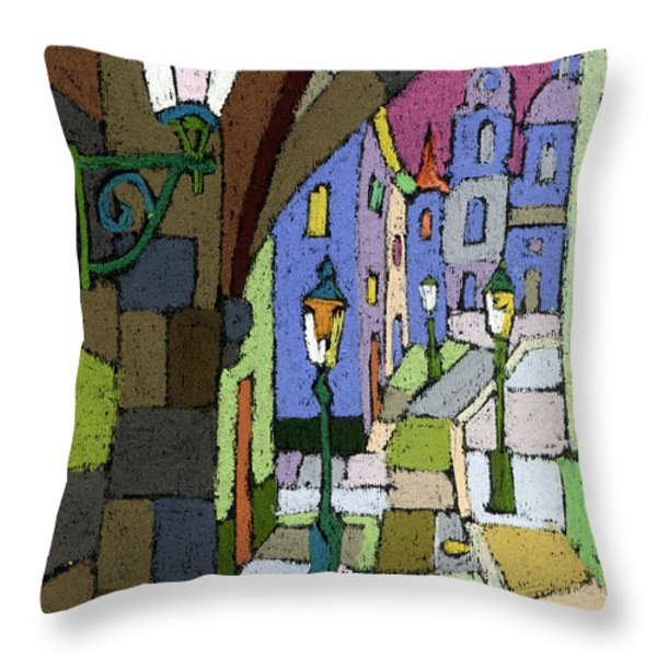 Prague Old Street Mostecka Throw Pillow by Yuriy  Shevchuk
