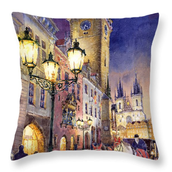 Prague Old Town Square 3 Throw Pillow by Yuriy  Shevchuk