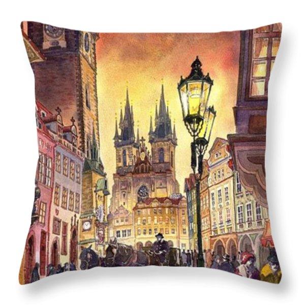 Prague Old Town Squere Throw Pillow by Yuriy  Shevchuk