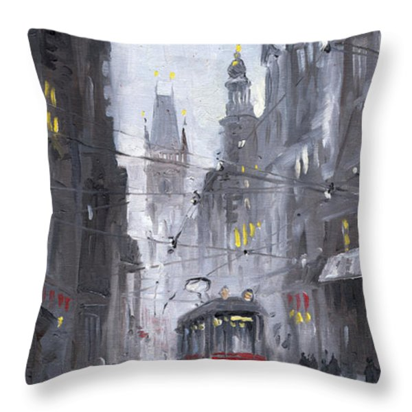 Prague Old Tram 03 Throw Pillow by Yuriy  Shevchuk