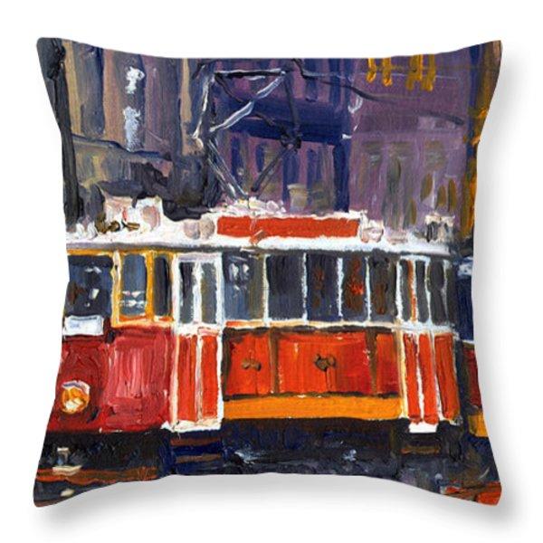 Prague Old Tram 09 Throw Pillow by Yuriy  Shevchuk