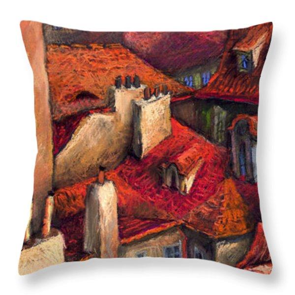 Prague Roofs Throw Pillow by Yuriy  Shevchuk