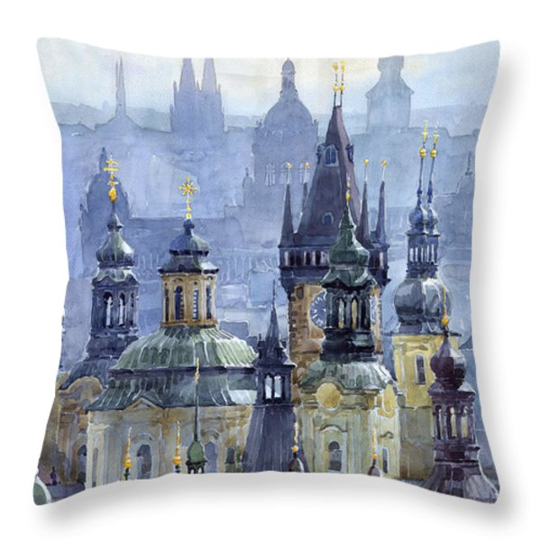 Prague Towers Throw Pillow by Yuriy  Shevchuk