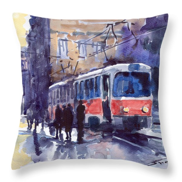 Prague Tram 02 Throw Pillow by Yuriy  Shevchuk
