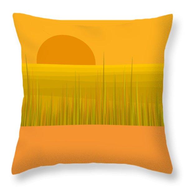 Prairie  Sundown Throw Pillow by Val Arie