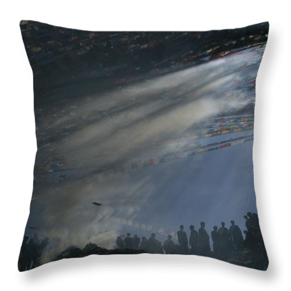 Prayer Flags Are Raised During Losar Throw Pillow by Maria Stenzel