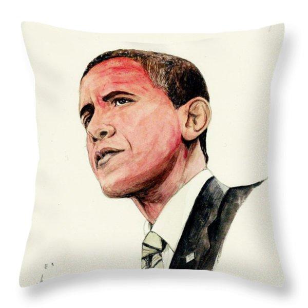 President Barak Obama Throw Pillow by Morgan Fitzsimons