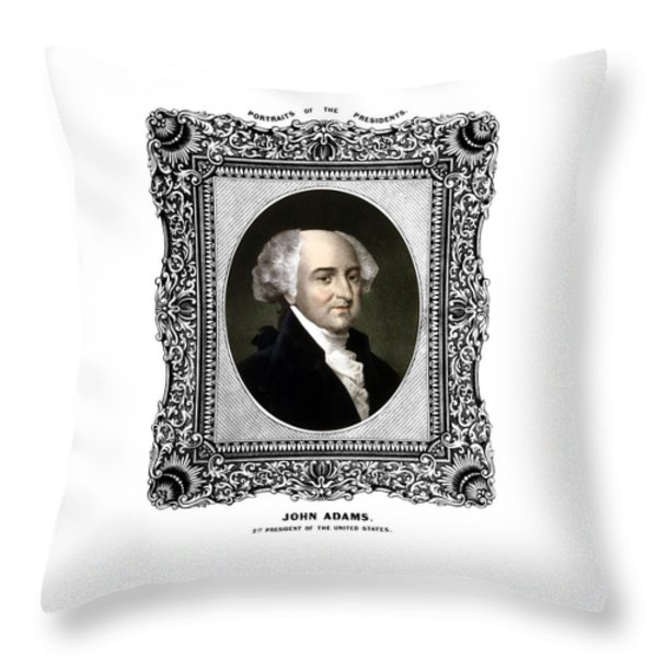 President John Adams Portrait  Throw Pillow by War Is Hell Store