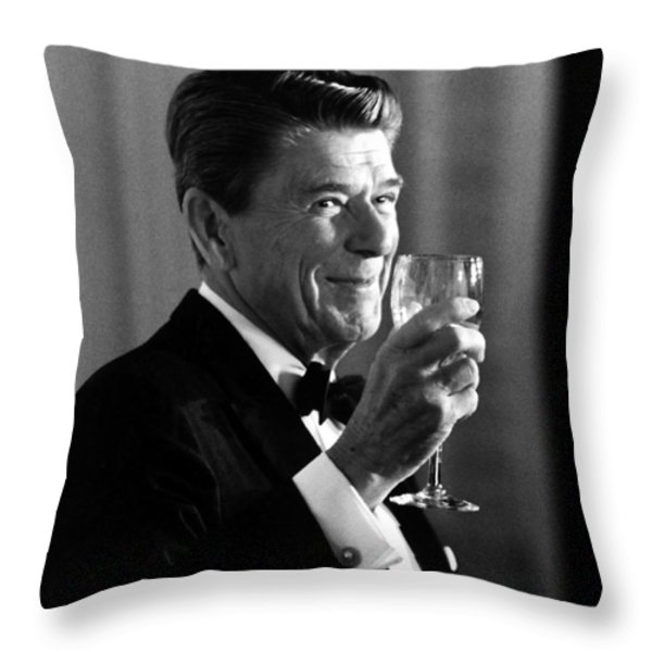 President Reagan Making A Toast Throw Pillow by War Is Hell Store
