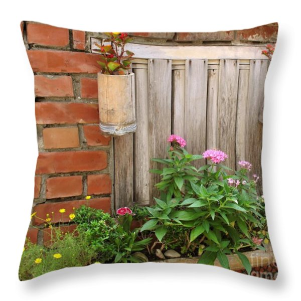 Pretty Garden Wall Throw Pillow by Yali Shi