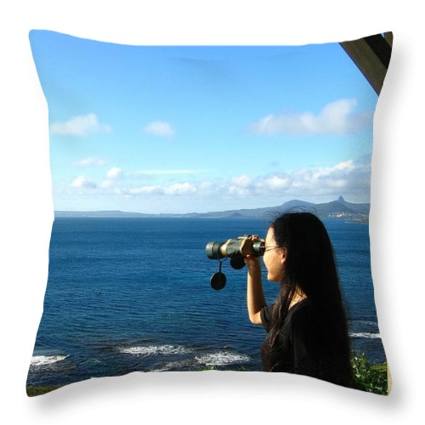 Pretty Girl Looking through Binoculars Throw Pillow by Yali Shi