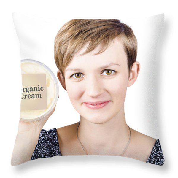 Pretty Woman Holding A Tub Of Organic Cream Throw Pillow by Ryan Jorgensen