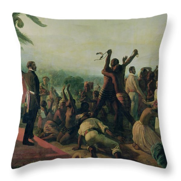 Proclamation Of The Abolition Of Slavery In The French Colonies Throw Pillow by Francois Auguste Biard