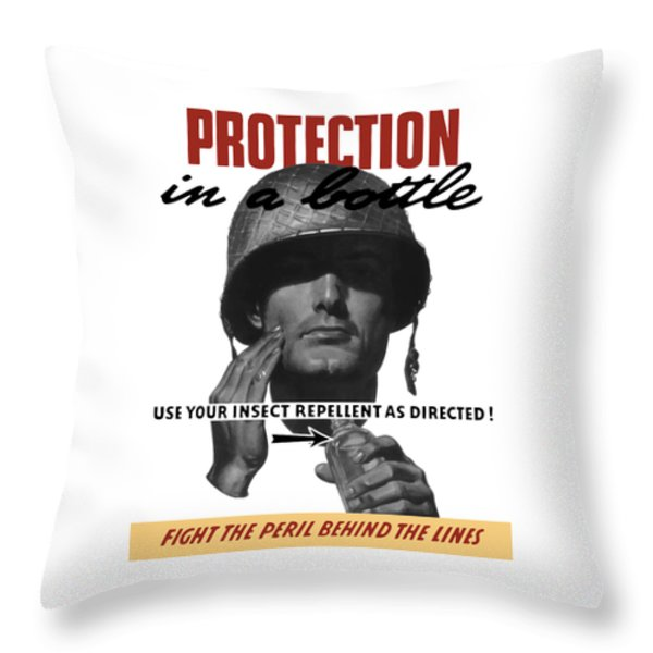 Protection In A Bottle Fight The Peril Behind The Lines Throw Pillow by War Is Hell Store